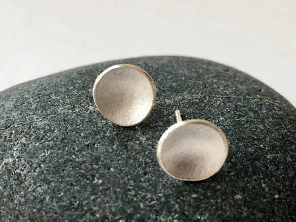 Small Concave Minimalist Silver Earrings