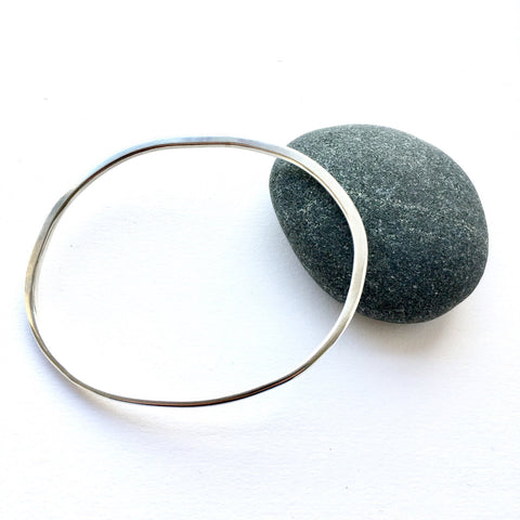 Organic Shape Oval Silver Bangle - 21.5 cm circumference