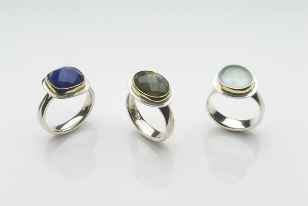Faceted Labradorite Platform Ring
