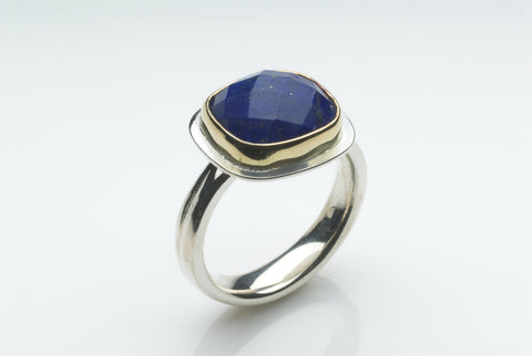 Square Faceted Lapis Lazuli Gold and Silver Platform Ring
