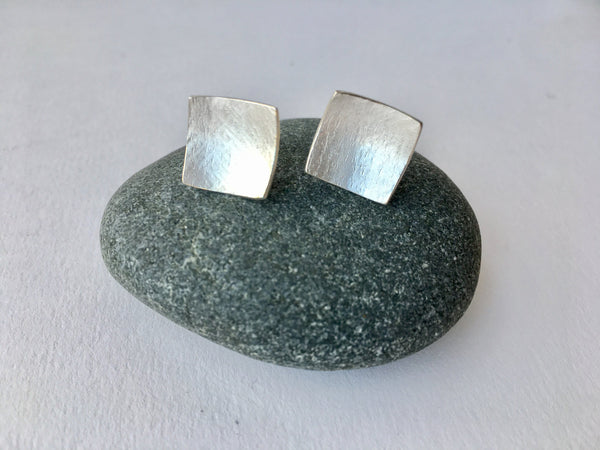Square Textured Silver Stud Earrings