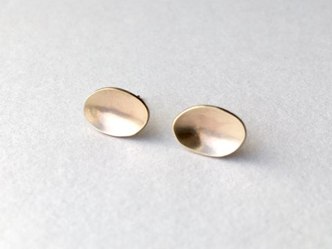 Simple Oval 9 ct Gold Earrings with Burnished Edges