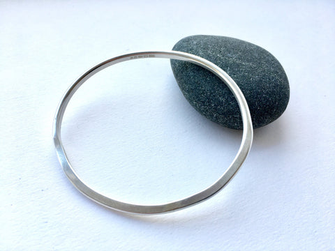 Silver Oval Organic Shape Bangle - 20.4 cm circumference