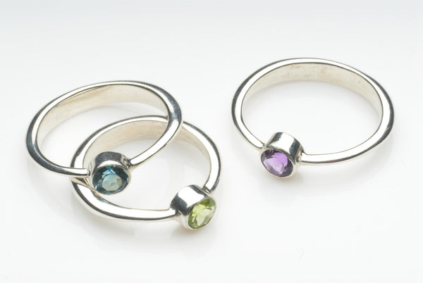 Modern Stacking gemstone rings in choice of stone.