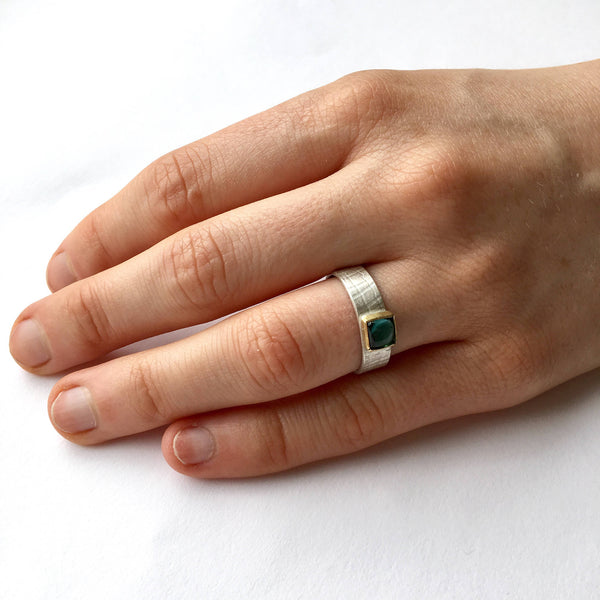 Blue Green Tourmaline Textured Silver Ring
