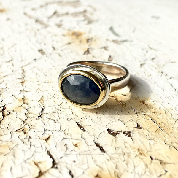 Blue Sapphire Gold and Silver Platform Ring