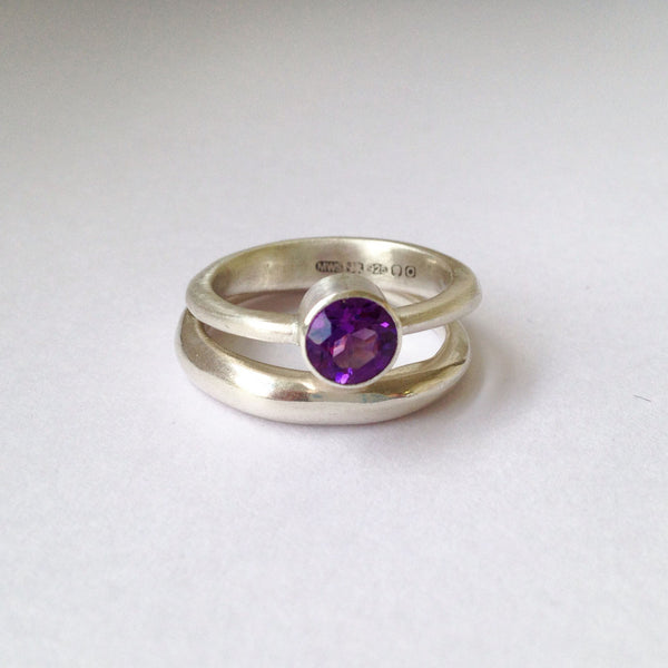 Modern stacking gemstone ring with Modern Stacking wedding ring.