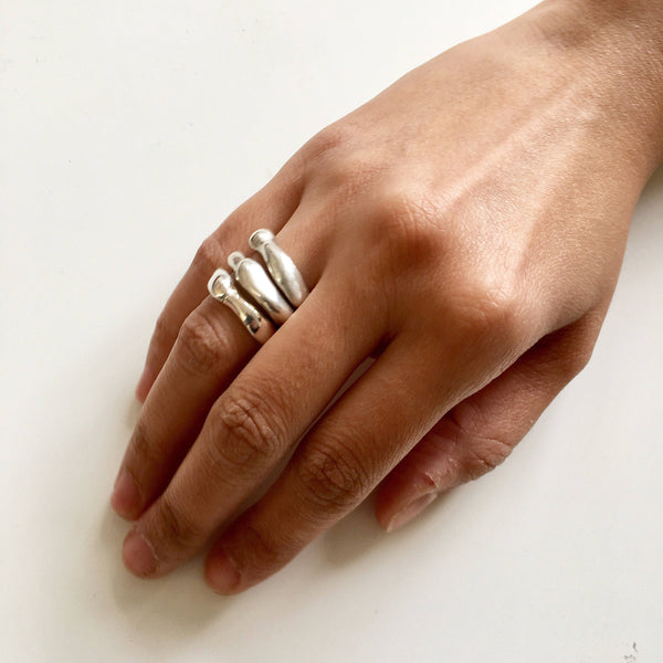 Curved Zen Silver Stacking Ring