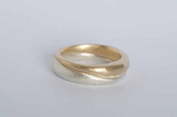18 ct gold and silver Modern Stacking Rings.