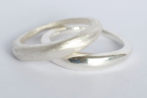Two silver Modern stacking wedding rings