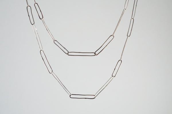 Silver Paperclip Chain with Hammered Texture
