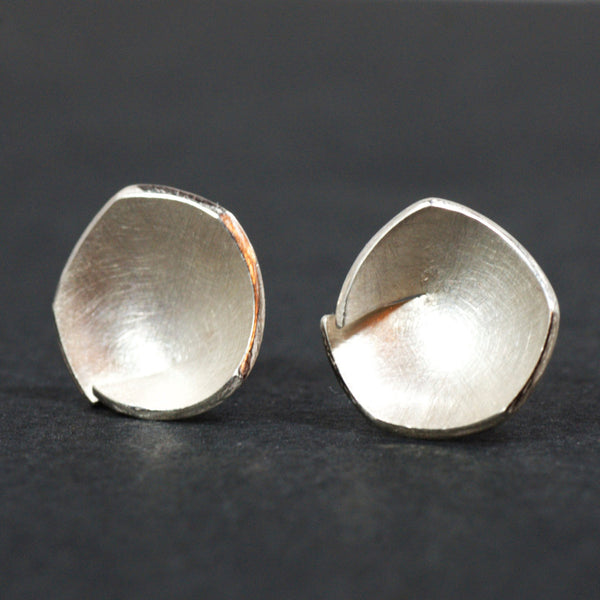Twisted Bud Silver Stud Earrings