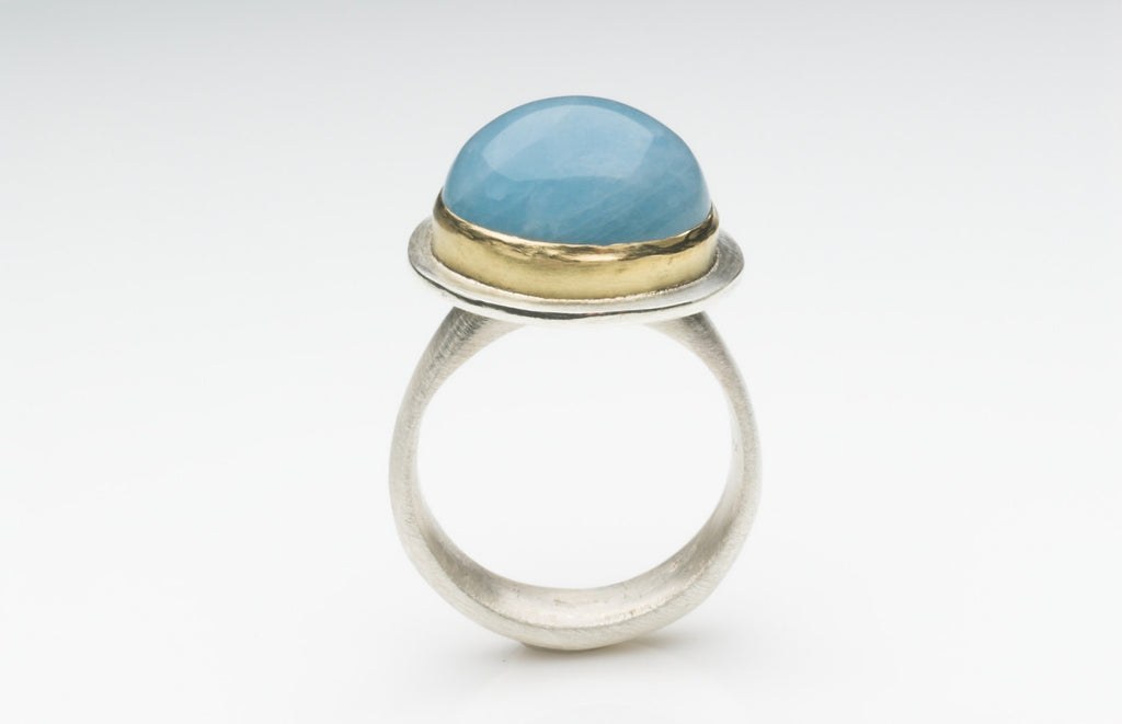 SALE: Aquamarine Silver and Gold Platform Ring