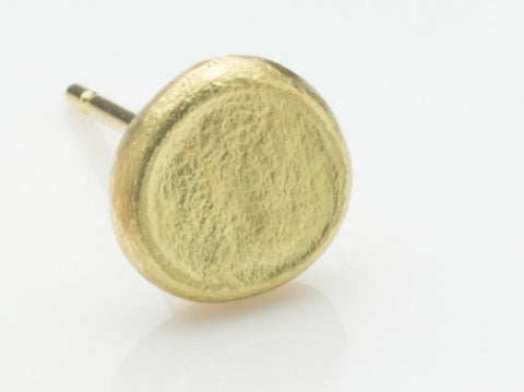 Rough textured gold Shen earring - single post earring.