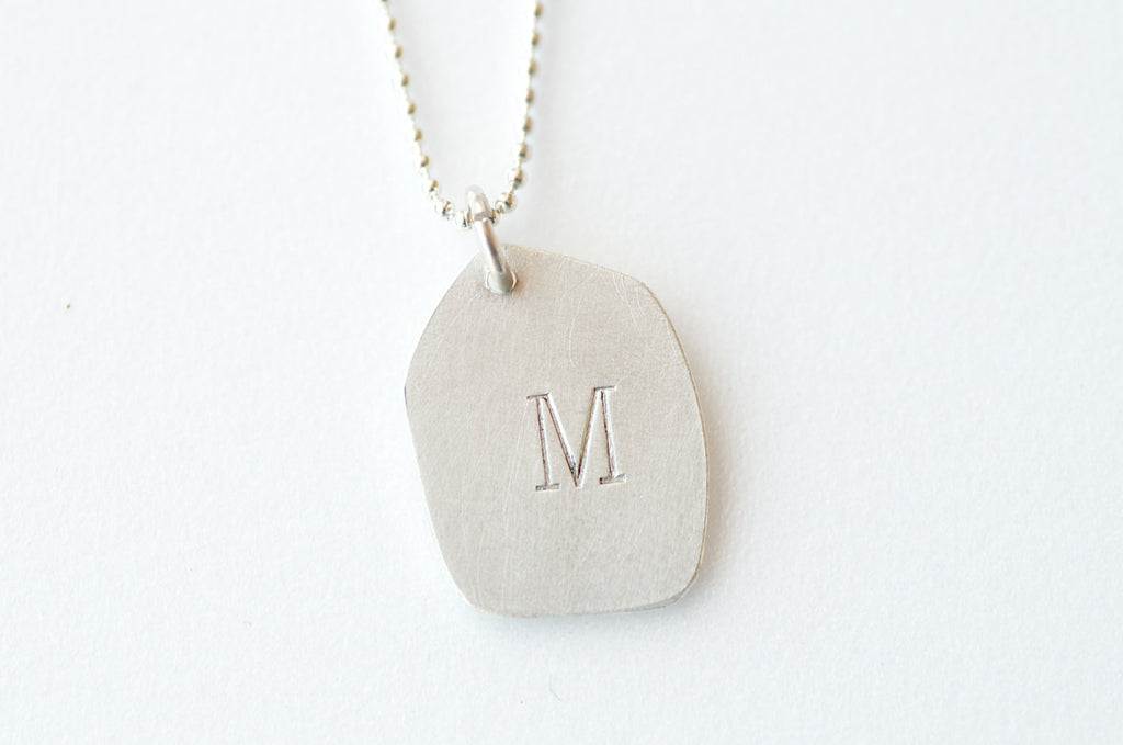 Personalised Silver Dog Tag Pendant on Silver Chain