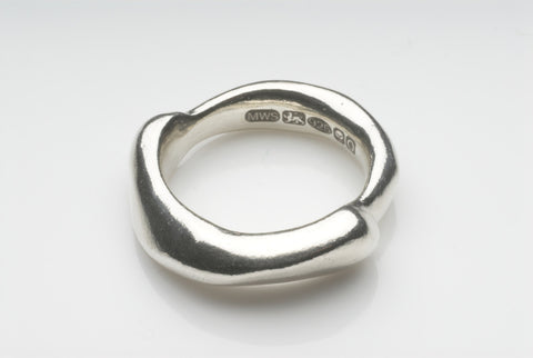 SALE: Curved Zen Silver Stacking Ring