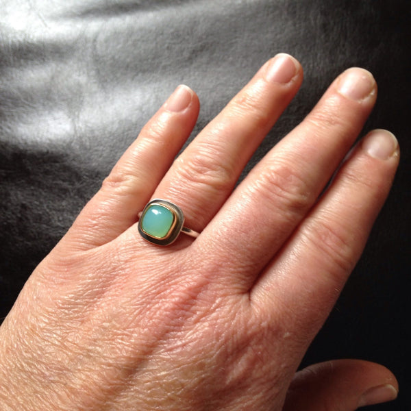 Andean Opal Silver and Gold Platform Ring