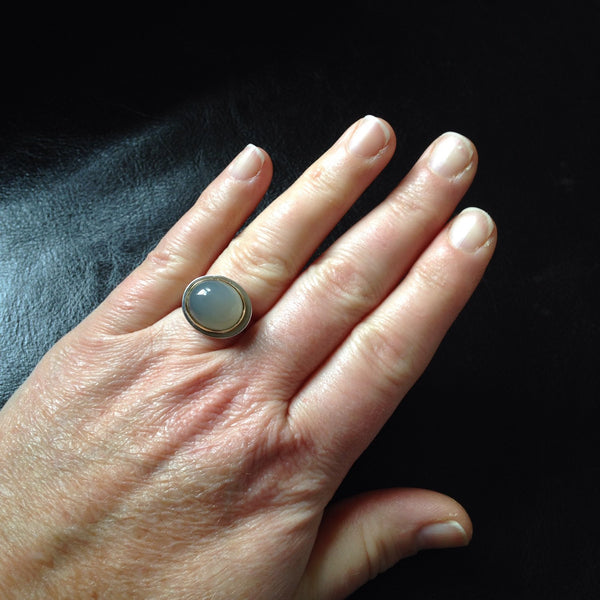Grey Moonstone Platform Ring