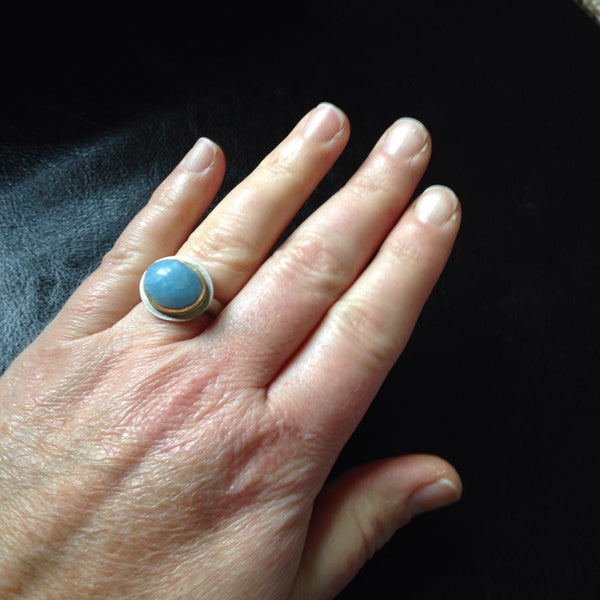 Aquamarine Silver and Gold Platform Ring