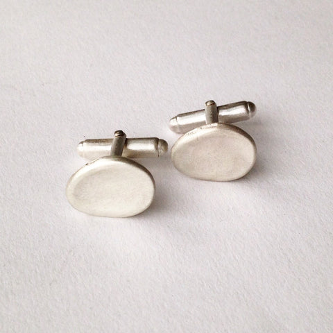 Organic shape silver cufflinks with UK Hallmarks