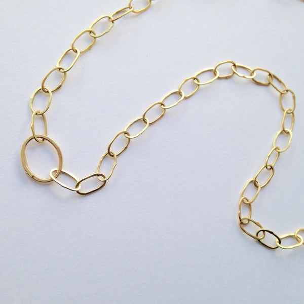 18 ct gold handmade chain with easy oval clasp