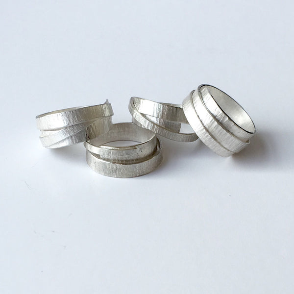 Silver Textured Wrap Ring with Burnished Edges - Size V 1/2