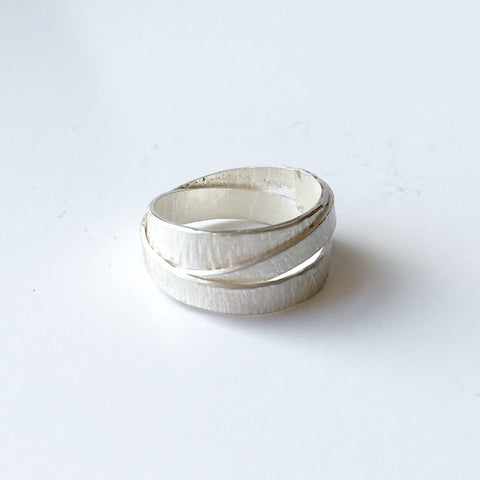 Textured silver wrap ring size UK V 1/2