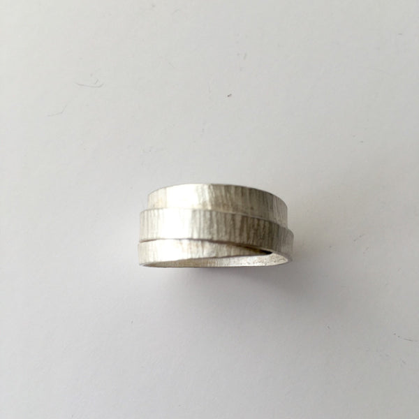 Silver Textured Wrap Ring with Burnished Edges - UK Size T