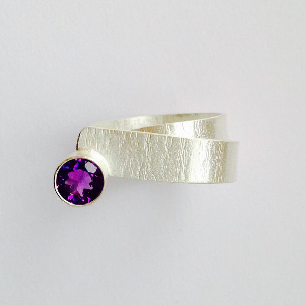 Textured Twisted Amethyst Ring