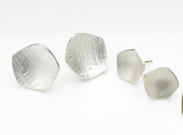 Silver Calyx Post Earrings