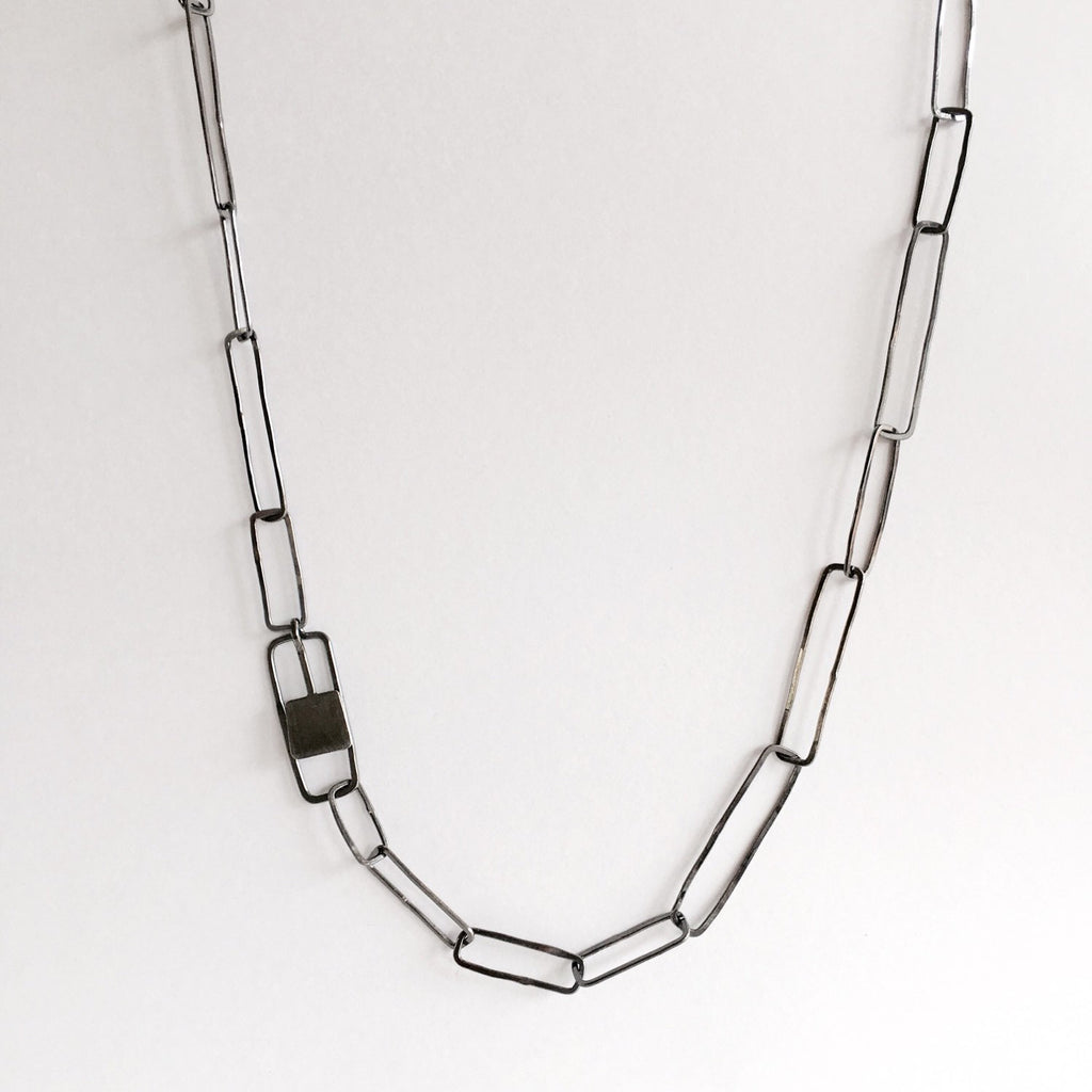 Oxidized Silver Paperclip Chain