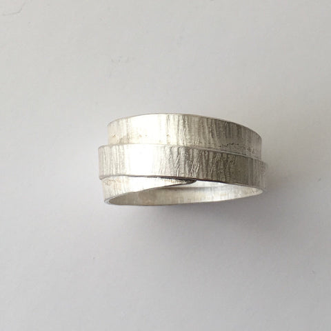Silver textured wrap ring in UK Size T