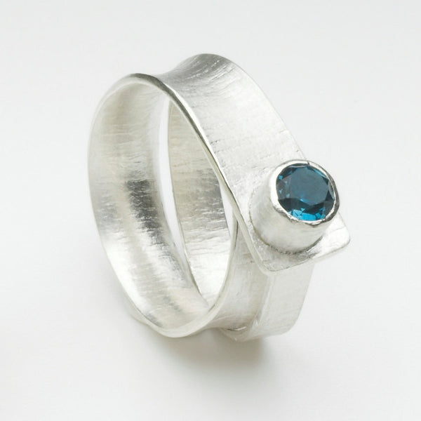 Textured twisted London Blue topaz ring