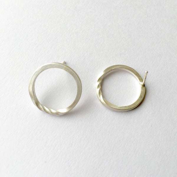 Twisted Circle Earrings in Sterling Silver