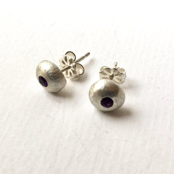 2.5 mm flush set purple amethyst gemstones in recycled silver ball earrings by Michele Wyckoff Smith