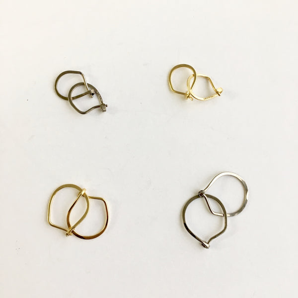 18 ct yellow and white hammered hoops by Wyckoff Smith Jewellery