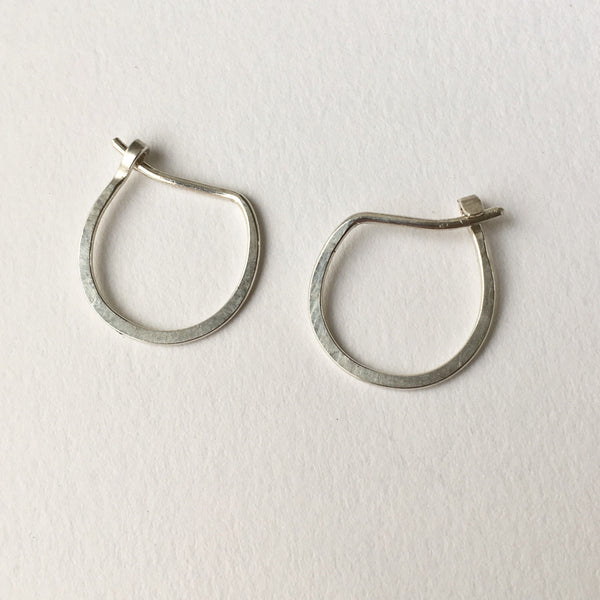 Hand forged U shape silver hoop earrings - Wyckoff Smith Jewellery
