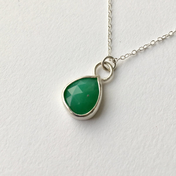 Faceted apple green teardrop chrysoprase pendant set in silver by Michele Wyckoff Smith