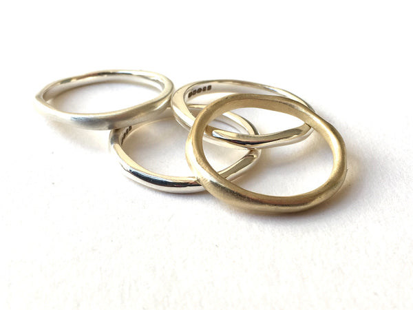 Anika silver and gold thin organic shaped band by Michele Wyckoff Smith