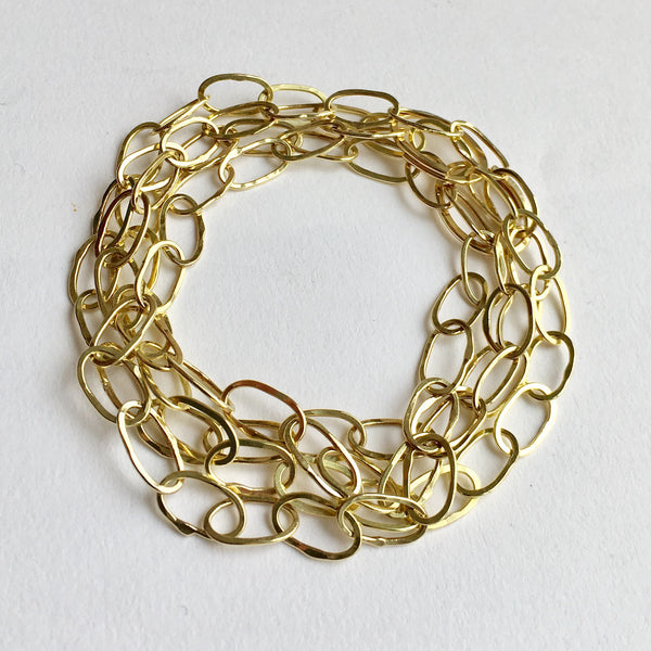 Combined Odd Fellow necklace and bracelet to make new multi layer 18 ct gold chain bracelet by Michele Wyckoff Smith