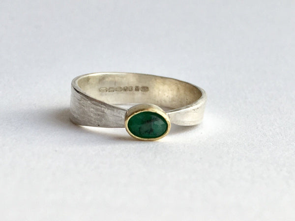 Silver and gold emerald ring by Michele Wyckoff Smith