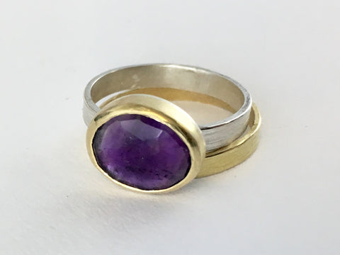 Faceted Amethyst Ring set in 18 ct gold on a textured silver band by Michele Wyckoff Smith (UK)