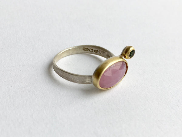 Pink sapphire and green tourmaline silver and gold ring by Wyckoff Smith Jewellery