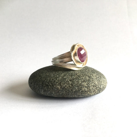 ARCHIVE SALE: Size N 1/2 Hand Forged Silver Wrap Ruby Ring