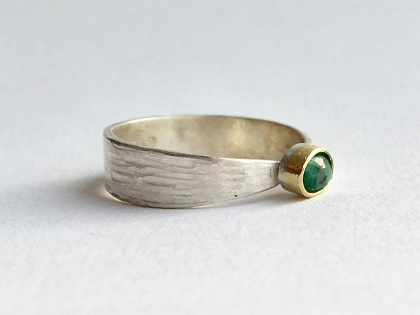 Side view of silver and gold emerald ring by Michele Wyckoff Smith