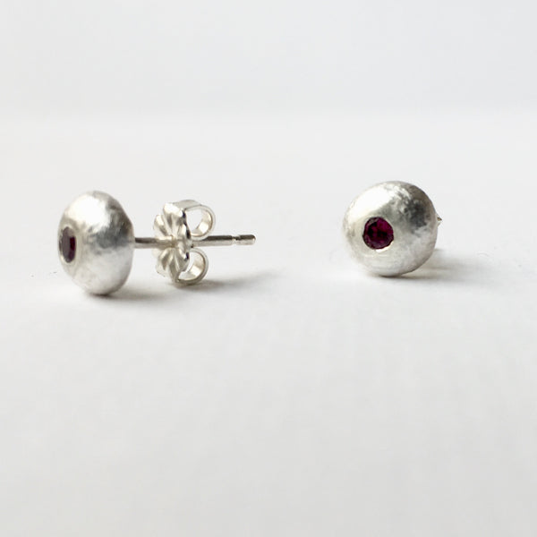 Flush set 2.5 mm red garnet (option 4) recycled silver ball studs by Michele Wyckoff Smith, Wyckoff Smith Jewellery