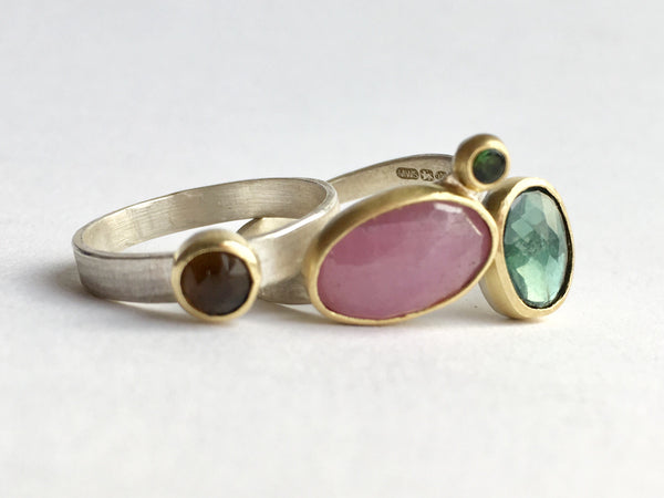 Assorted gold and silver gemstone stacking rings: smokey topaz, pink sapphire and tourmaline by Michele Wyckoff Smith
