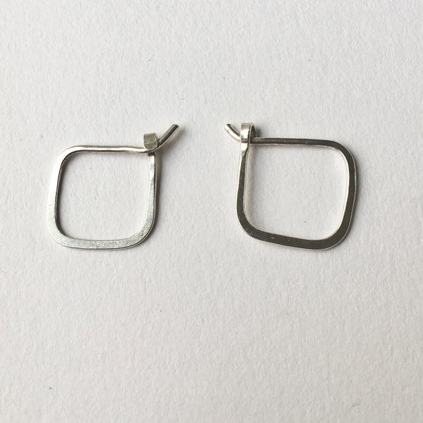 Square silver hand forged hoop earrings - Wyckoff Smith Jewellery