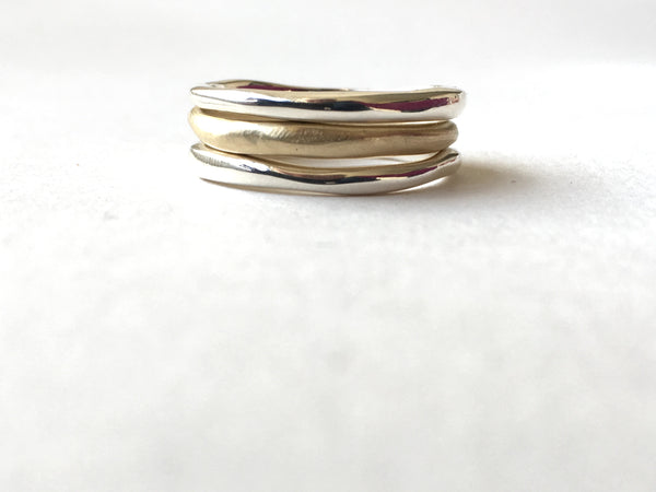 Organic shaped stacking rings in silver and gold by Michele Wyckoff Smith