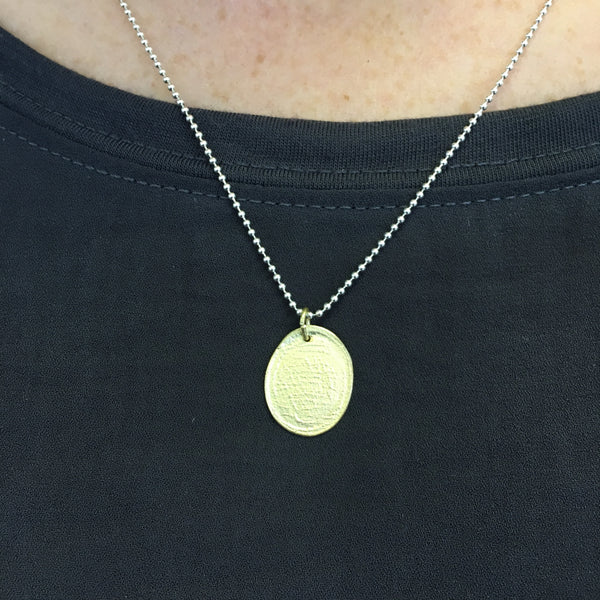 Textured 18 ct gold pendant by Michele Wyckoff Smith